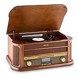 auna Belle Epoque 1908 - Retroanlage, Plattenspieler, Stereoanlage, Digitalradio, Radio-Tuner, MP3-fähig, RDS, Kassettendeck, USB-Port, CD, DAB+ &...